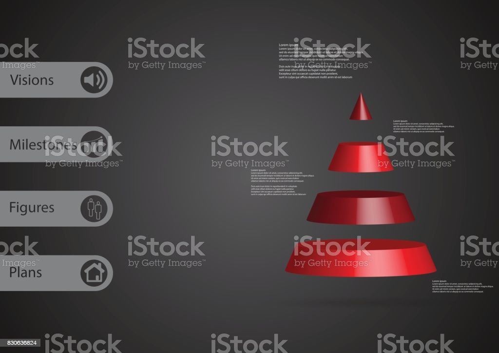 3D illustration infographic template with motif of cone triangle horizontally divided to four red slices with simple sign and sample text on side in bars. Dark grey gradient is used as background. vector art illustration