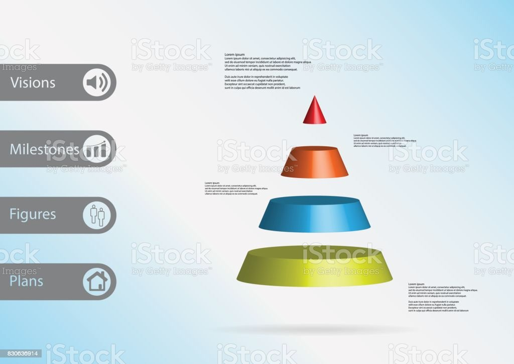 3D illustration infographic template with motif of cone triangle horizontally divided to four color slices with simple sign and sample text on side in bars. Light blue gradient is used as background. vector art illustration