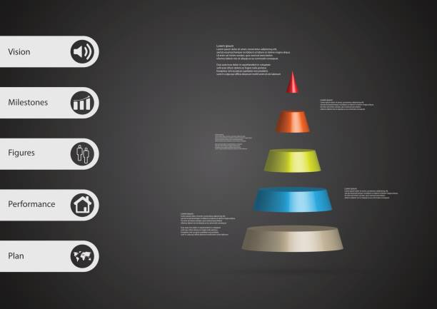 3D illustration infographic template with motif of cone triangle horizontally divided to five color slices with simple sign and sample text on side in bars. Dark grey gradient is used as background. vector art illustration