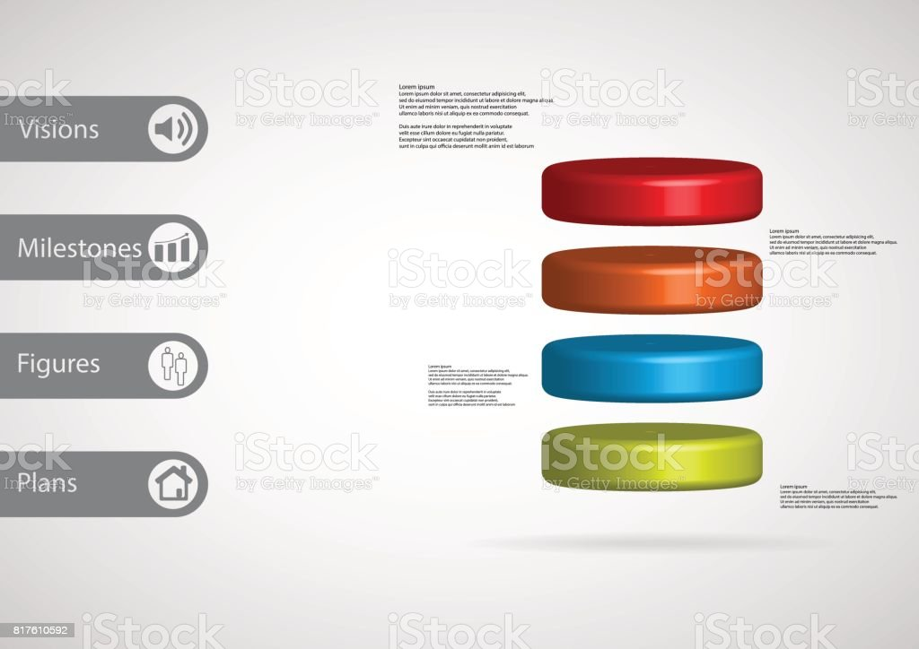 3D illustration infographic template with motif of cylinder horizontally divided to four color slices with simple sign and sample text on side in bars. Light grey gradient is used as background. vector art illustration