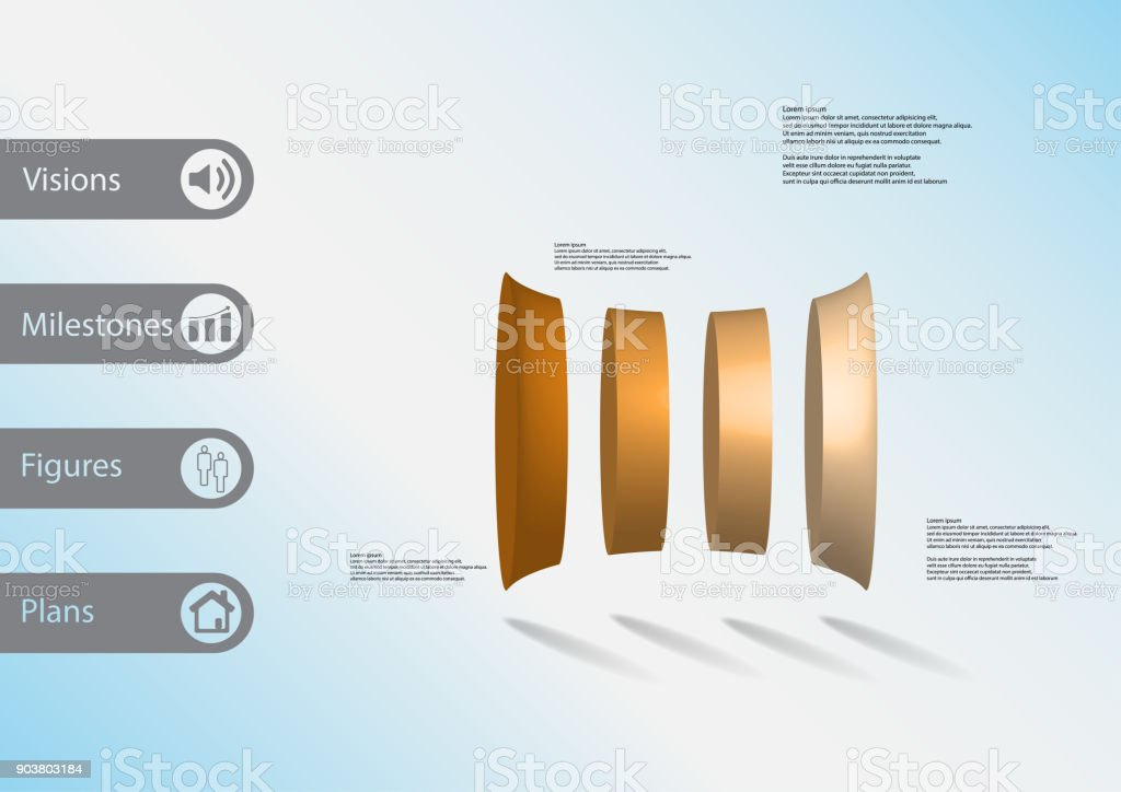 3D illustration infographic template with motif of deformed bar vertically divided to four orange parts with simple sign and sample text on side in bars. Light blue gradient is used as background. vector art illustration