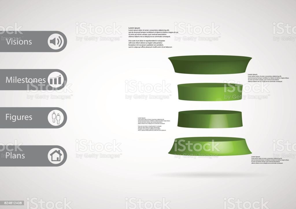 3D illustration infographic template with motif of deformed cylinder horizontally divided to four green slices with simple sign and sample text on side in bars. Light grey gradient is used as background. vector art illustration