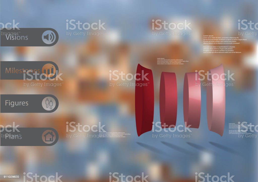 3D illustration infographic template with motif of deformed cylinder vertically divided to four red parts with simple sign and sample text on side in bars. Blurred photo is used as background. vector art illustration