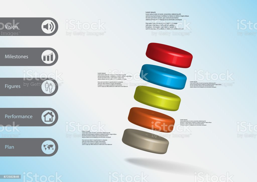 3D illustration infographic template with motif of five color cylinders askew arranged with simple sign and sample text on side in bars. Light blue gradient is used as background. vector art illustration
