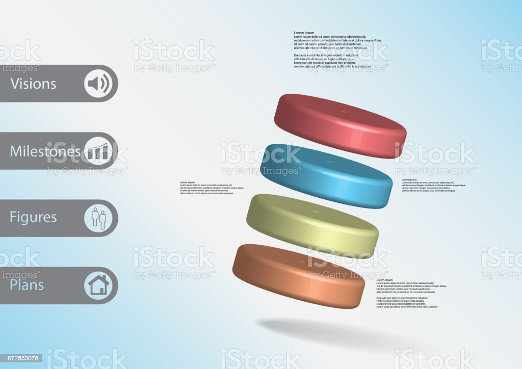 3D illustration infographic template with motif of four color cylinders askew arranged with simple sign and sample text on side in bars. Light blue gradient is used as background. vector art illustration