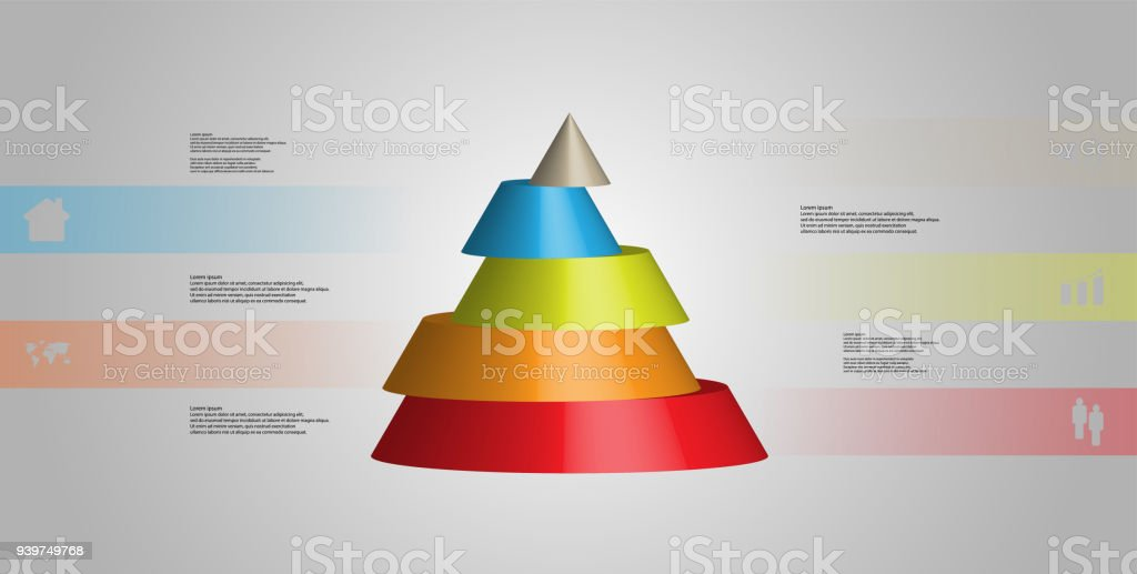 3D illustration infographic template with motif of horizontally sliced cone to five color parts which are shifted. Simple sign and text is in color banners. Light grey gradient is used as background. vector art illustration