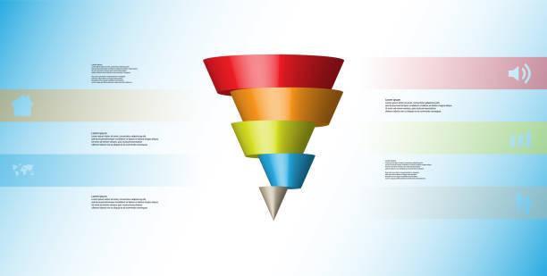 3D illustration infographic template with motif of horizontally sliced cone to five color parts which are shifted. Simple sign and text is in color banners. Light blue gradient is used as background. vector art illustration