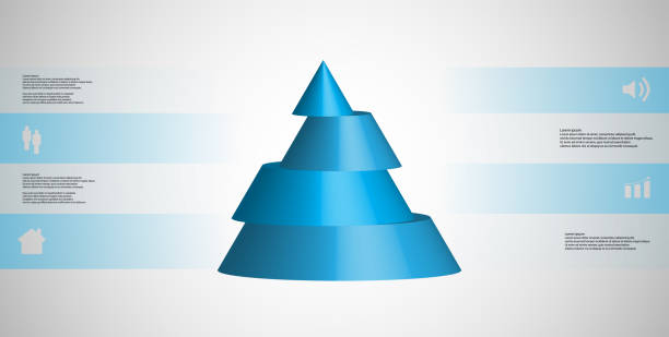 3D illustration infographic template with motif of horizontally sliced cone to four blue parts which are shifted. Simple sign and text is in color banners. Light grey gradient is used as background. vector art illustration