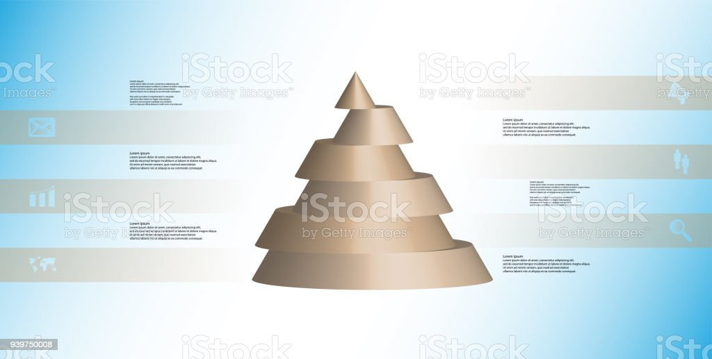 3D illustration infographic template with motif of horizontally sliced cone to six brown parts which are shifted. Simple sign and text is in color banners. Light blue gradient is used as background. vector art illustration
