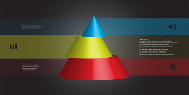 3D illustration infographic template with motif of horizontally sliced cone to three color parts which are shifted. Simple sign and text is in color banners. Dark grey gradient is used as background. vector art illustration