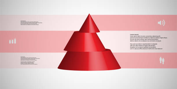 3D illustration infographic template with motif of horizontally sliced cone to three red parts which are shifted. Simple sign and text is in color banners. Light grey gradient is used as background. vector art illustration