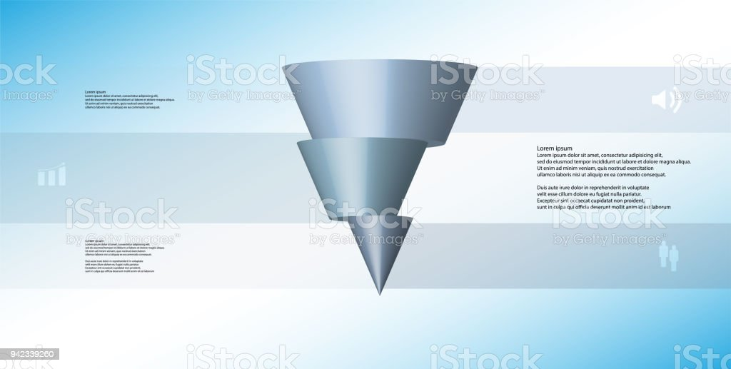 3D illustration infographic template with motif of horizontally sliced cone to three blue parts which are shifted. Simple sign and text is in color banners. Light blue gradient is used as background. vector art illustration