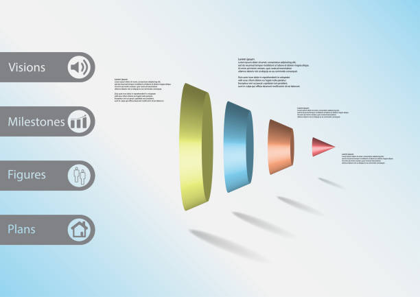 3D illustration infographic template with motif of round cone vertically divided to four color parts with simple sign and sample text on side in bars. Light blure gradient is used as background. vector art illustration