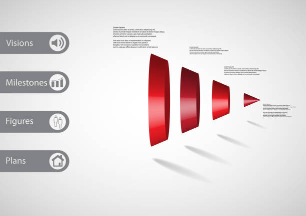 3D illustration infographic template with motif of round cone vertically divided to four red parts with simple sign and sample text on side in bars. Light grey gradient is used as background. vector art illustration