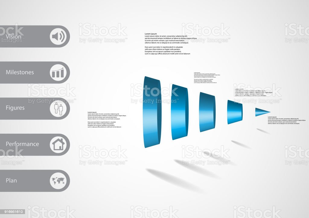3D illustration infographic template with motif of round cone vertically divided to Five blue parts with simple sign and sample text on side in bars. Light grey gradient is used as background. vector art illustration