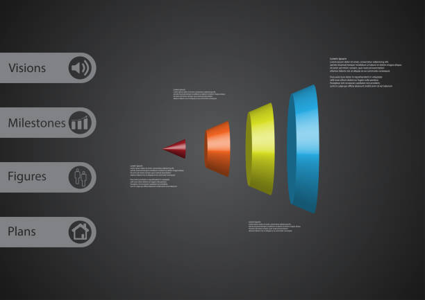 3D illustration infographic template with motif of round cone vertically divided to four color parts with simple sign and sample text on side in bars. Dark grey gradient is used as background. vector art illustration