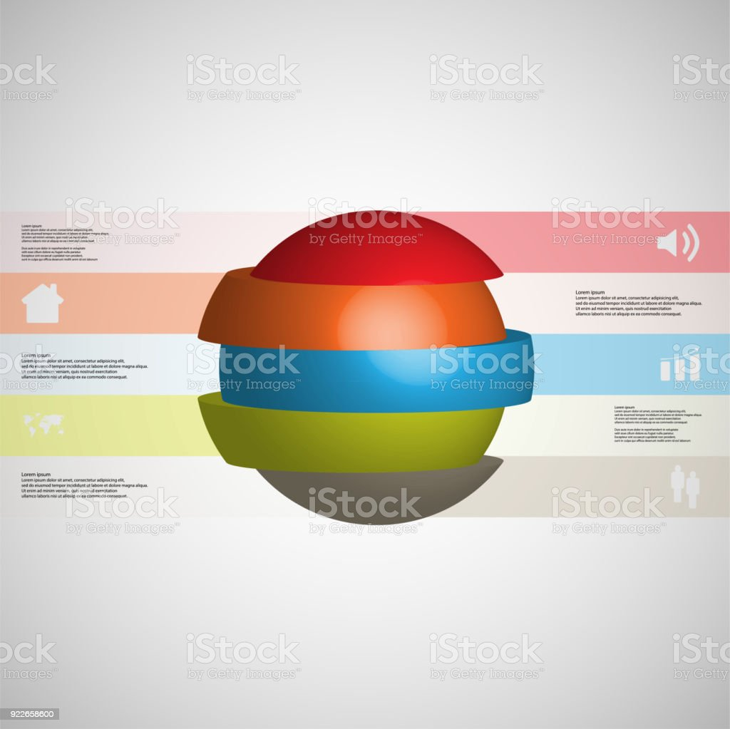3D illustration infographic template with motif of sliced ball to five color parts which are stacked with shifted elements. Simple sign and text is in color banners.  Light grey gradient is used as background. vector art illustration
