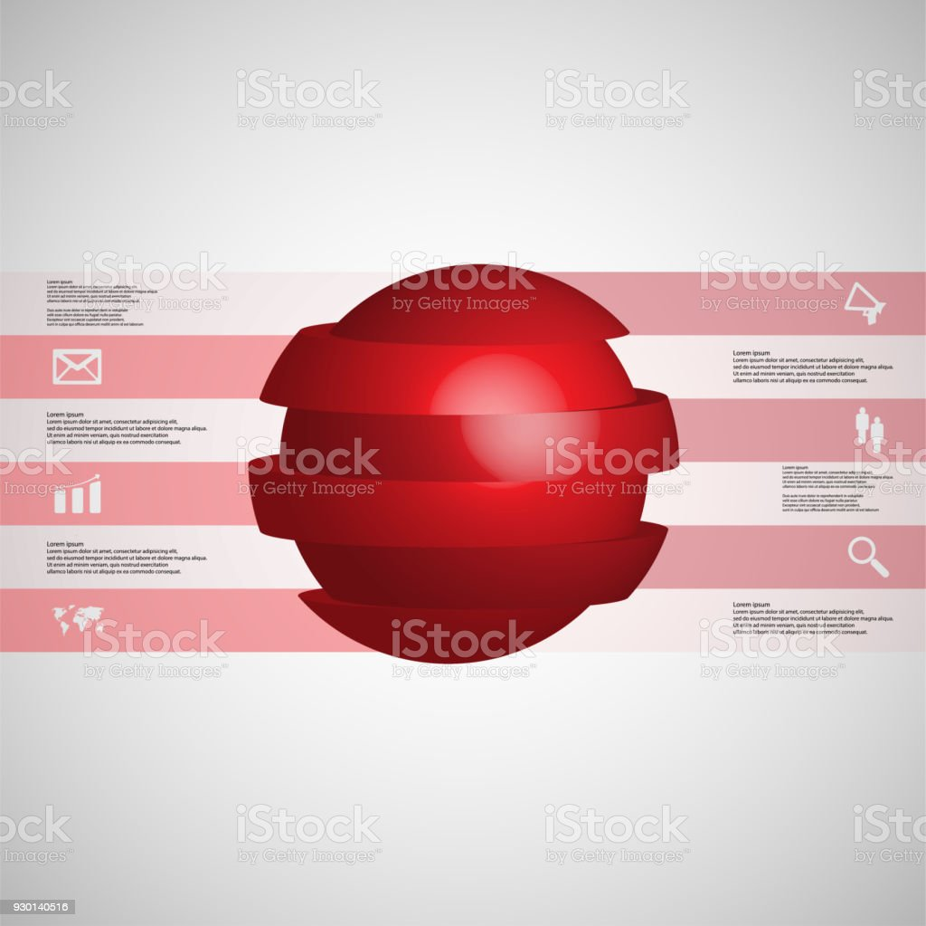 3D illustration infographic template with motif of sliced ball to six red parts which are stacked with shifted elements. Simple sign and text is in color banners on light grey gradient in background. vector art illustration