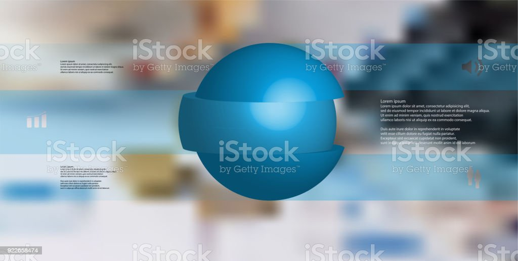 3D illustration infographic template with motif of sliced ball to three blue parts which are stacked with shifted elements. Simple sign and text is in color banners.  Blurred photo is used as background. vector art illustration