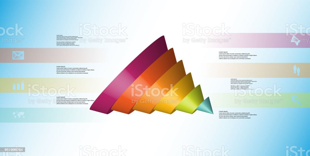 3D illustration infographic template with motif of sliced cone to six color parts which are shifted, spilled and askew arranged. Simple sign and text is in color banners. Background is light blue. vector art illustration