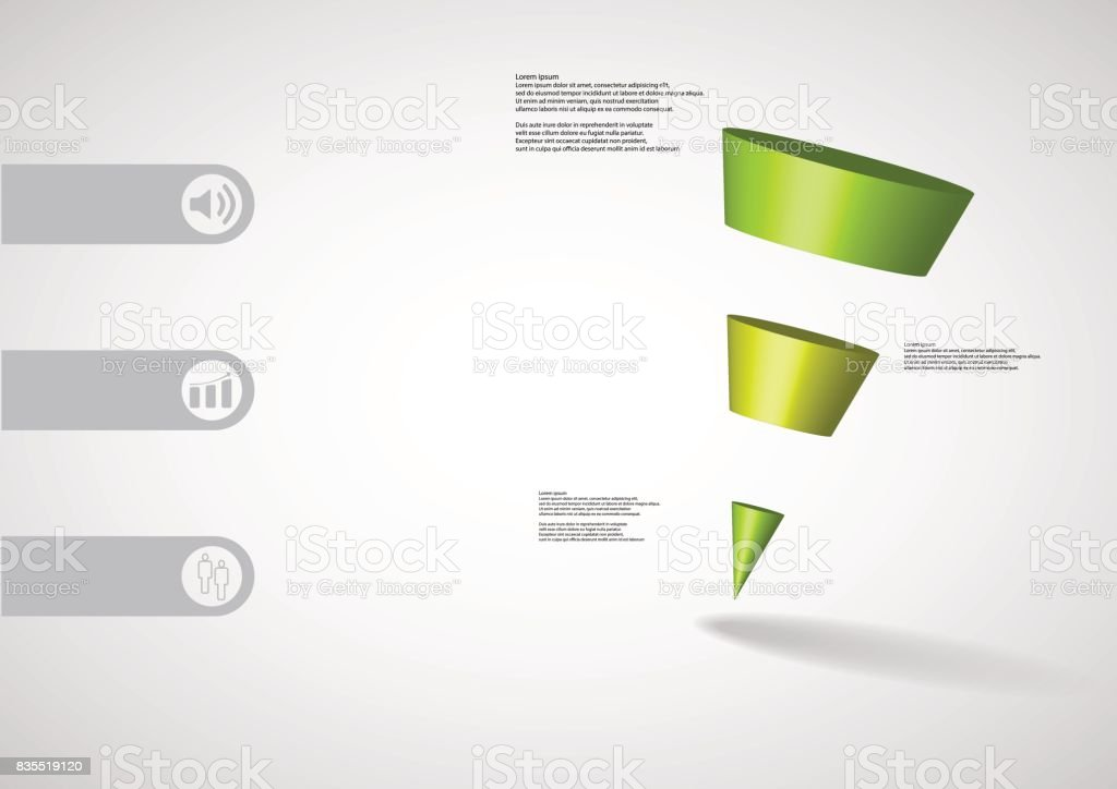 3D illustration infographic template with motif of sloping cone triangle horizontally divided to three green slices with simple sign and text on side in bars. Light grey gradient used as background. vector art illustration
