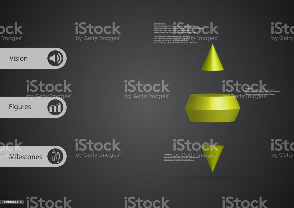 3D illustration infographic template with motif of two spike cone horizontally divided to three green slices with simple sign and text on side in bars. Dark grey gradient used as background. vector art illustration