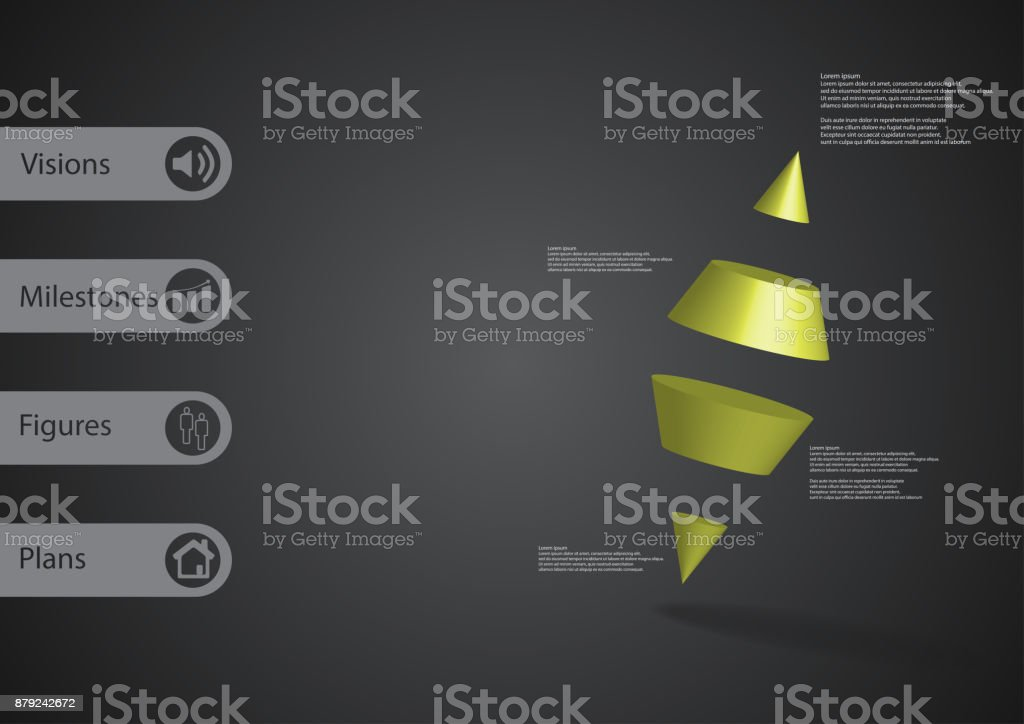 3D illustration infographic template with motif of two spike cone divided to four green parts askew arranged with simple sign and sample text on side in bars. Dark grey gradient is used as background. vector art illustration