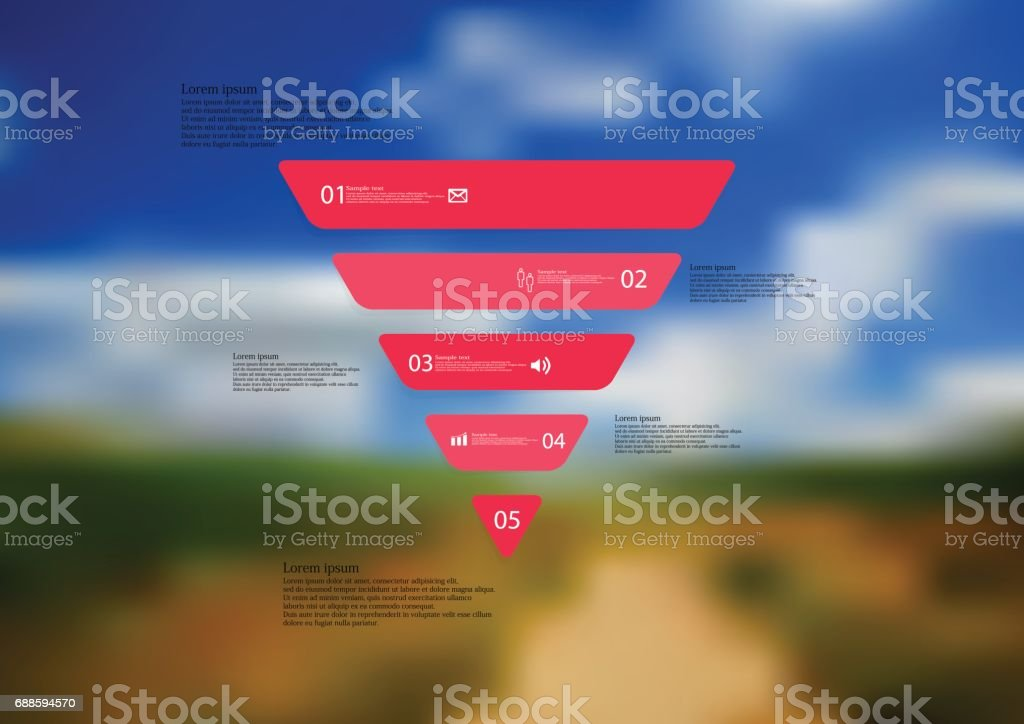 Illustration infographic template with triangle horizontally divided to five standalone red parts vector art illustration
