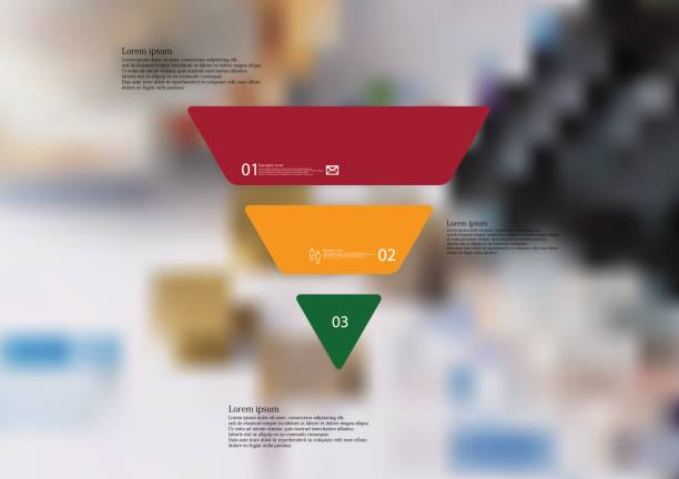 Illustration infographic template with triangle horizontally divided to three standalone color parts vector art illustration