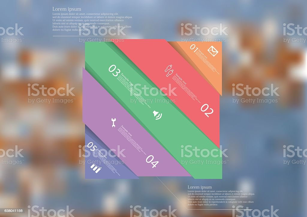 Illustration infographic-template with color rectangle askew divided to five parts vector art illustration