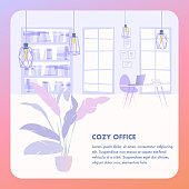 Illustration Interior Cozy Office Business Company. Banner Vector Image Workspace. Modern Style Office Interior. Large Window, Desktop with Laptop, Rack with Document Folders, Hanging Metal Lamp