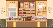 Stock vector illustration interior of bake shop, bake sale, business of baking sales, bakery and baking for production of bakery products, pastry, sweets in flat style element for infographic, website