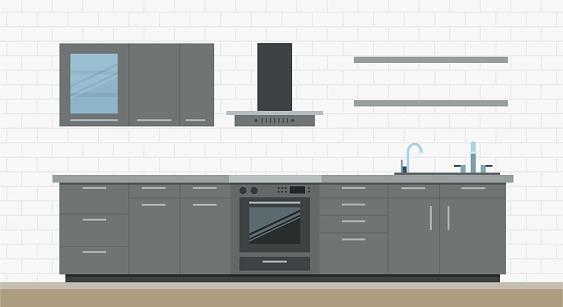 Illustration interior of modern kitchen, furniture and appliances flat vector set