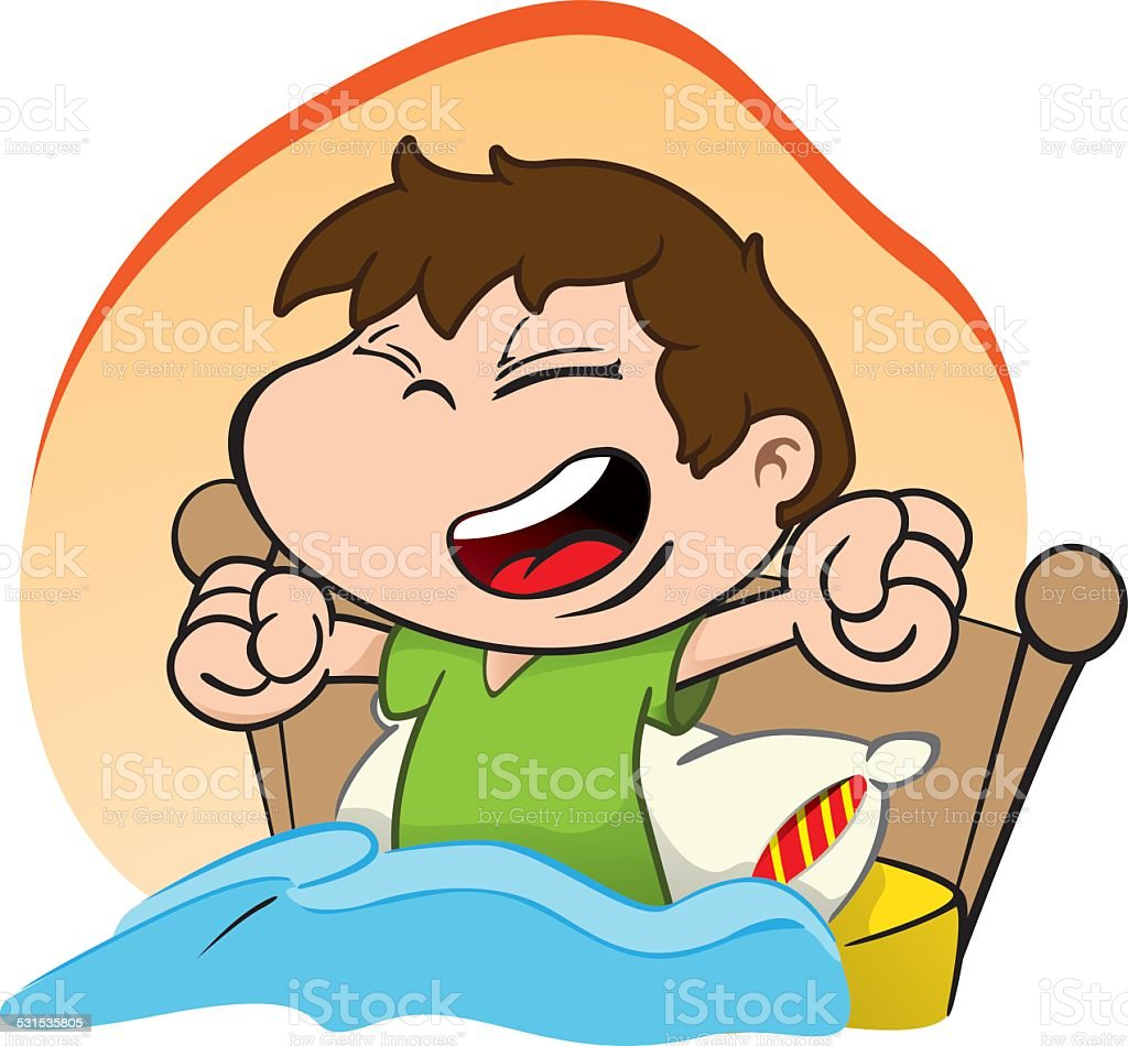 Illustration is a child waking up and getting up Happy bed vector art illustration