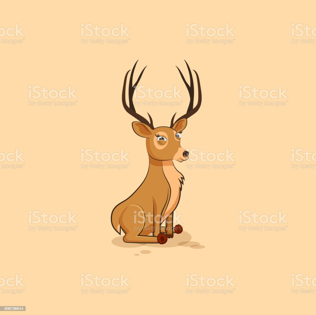 Illustration isolated emoji character cartoon deer squints and looks suspiciously - Illustration vectorielle