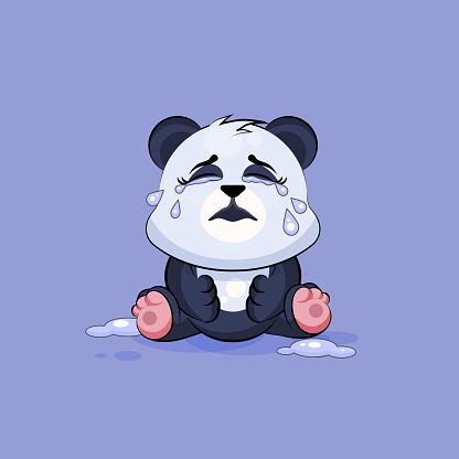Illustration isolated Emoji character cartoon Panda crying, lot of tears