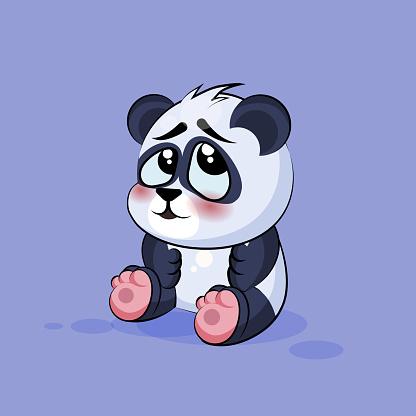 Illustration isolated Emoji character cartoon Panda embarrassed, shy and blushes