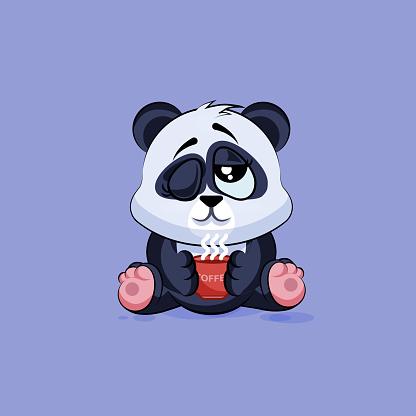 Illustration isolated Emoji character cartoon Panda just woke up with
