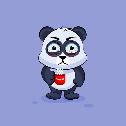 Illustration isolated Emoji character cartoon Panda nervous with cup of