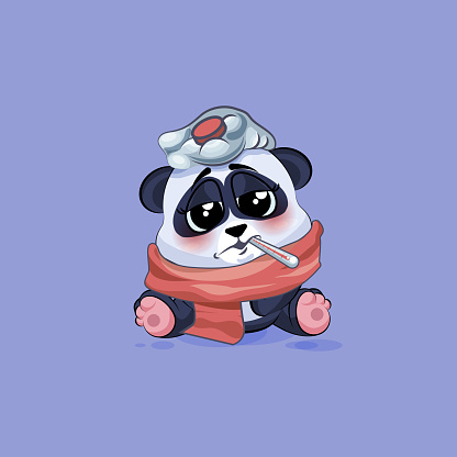Illustration isolated Emoji character cartoon Panda sick with thermometer in