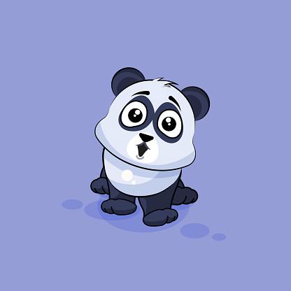 Illustration isolated Emoji character cartoon Panda surprised with big eyes