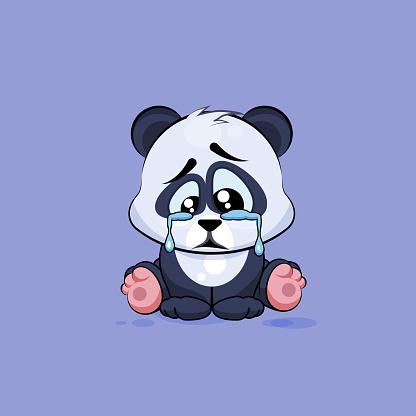Illustration isolated Emoji character cartoon sad and frustrated Panda crying
