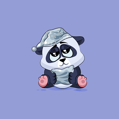 Illustration isolated Emoji character cartoon sleepy Panda in nightcap with