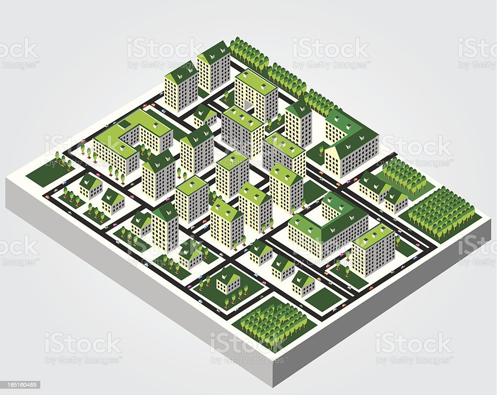 Illustration: Isometric city royalty-free stock vector art
