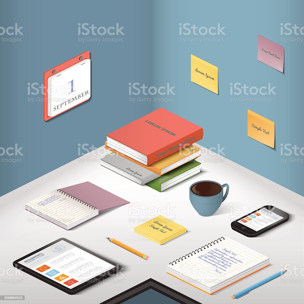 Illustration isometry office and workplace vector art illustration