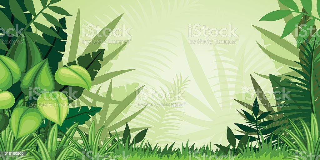 Illustration jungle landscape vector art illustration