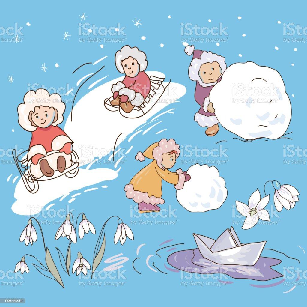 Illustration Kids in winter royalty-free stock vector art