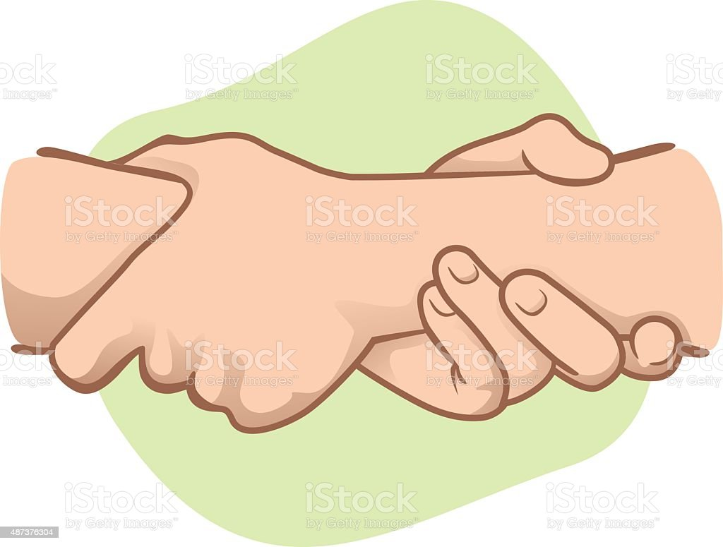 Illustration leaning hands holding a wrist in the other