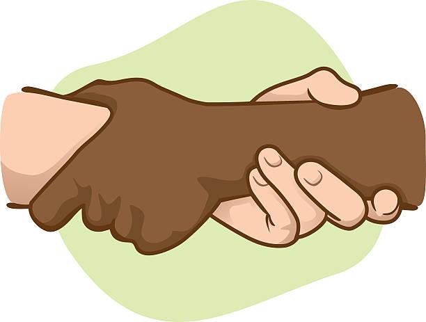 illustrazioni stock, clip art, cartoni animati e icone di tendenza di illustrazione appoggiato le mani tenendo il polso delle altre, interracial - mano donna dita unite