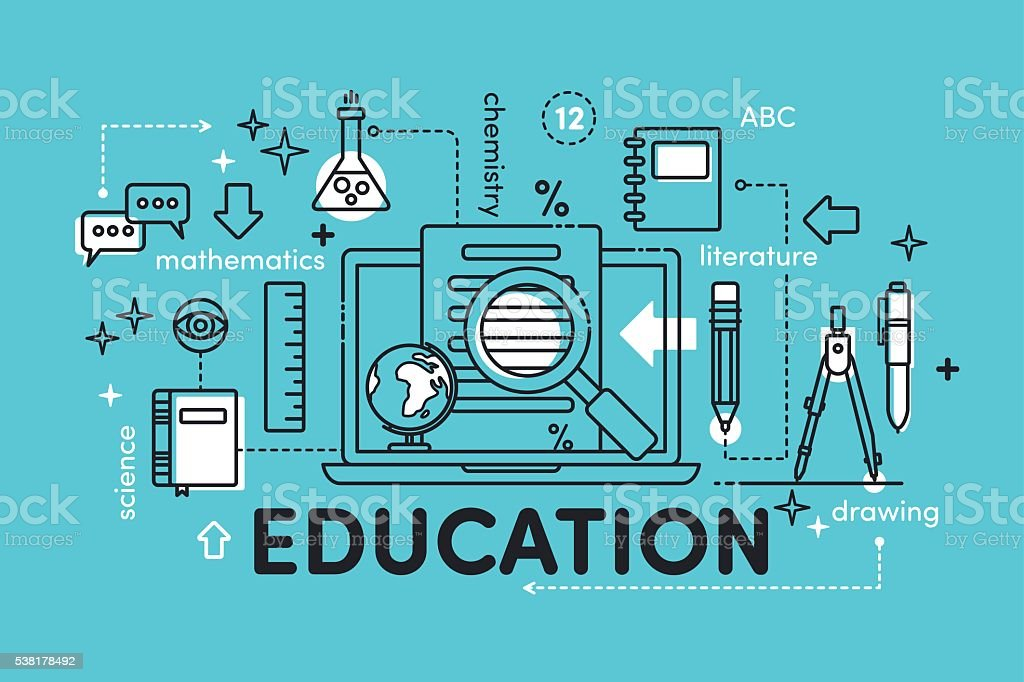 Illustration linear Education vector art illustration